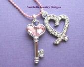 Key to my Heart rhinestone charm necklace love Valentine pink