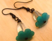 Half inch, pale green, prasiolite, vintage, teal blue glass, forget me not, flower earrings SALE 20% off