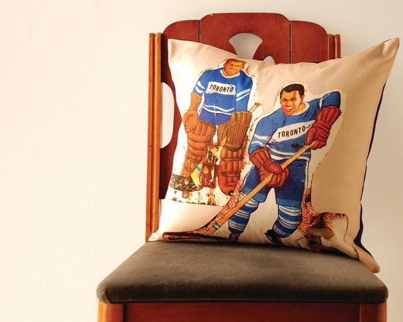 Team Toronto Pillow Cover - Retro Table Hockey Players. Great for a man cave or kids bedroom.