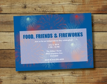 Fourth of july party invitation with fireworks