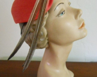 Iconic Vintage 1950s Red Molded Straw Cloche w/ Feathers. Gage