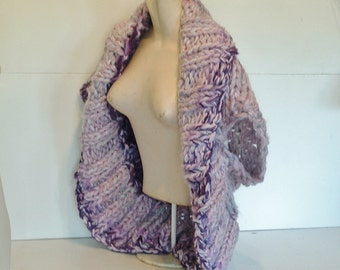 Wrap vest for women shrug style crop cardigan sweater super chunky deep shawl collar hand knit medium large extra large purple and lilac