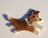Ceramic Mosaic Tile or Brooch Pin Porcelain Sheltie Shetland Sheepdog
