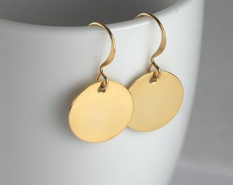 Simple Gold Coin Dangle Earrings, Simple Gold Earrings, Small Drop Earrings, Small Gold Earrings #801