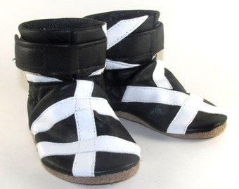 Soft Sole Black Leather Infant Baby Boots 6 to 12 Month