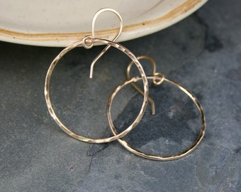 Small Eternity Earrings, 14k Gold Filled Hoops, Round Hoops, Hammered 14 Karat Gold Filled, Dangle Hoop, Round Minimalist, French Ear Wire