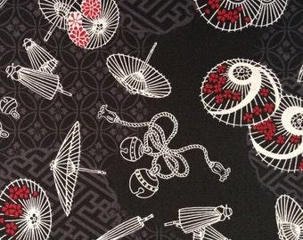 Japanese wagara quilt cotton yardage Black Parasols QWR1010 14B