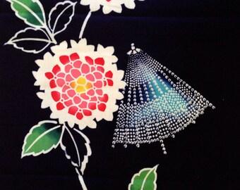 Vintage Japaese Yukata cotton indigo Dewy Parasol and Flowers