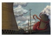 Nuclear Power vs Giant Octopus Print