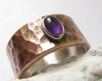Amethyst Ring, Copper And Fine Silver Ring, February Birthstone Ring, Copper Ring Mixed Metal Ring, Gemstone Artisan Jewelry, Copper Jewelry