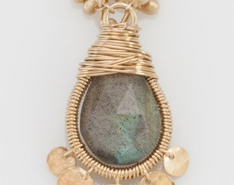 Small Teardrop Wrapped Necklace with Labradorite