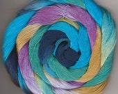 Size 10 Hand Dyed  Crochet Thread Cotton 50 yards blue turquoise aquamarine gold lavender Kalpin