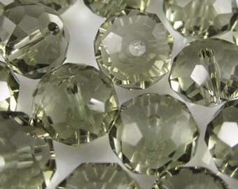 gray Crystal 6x8    clear glass crystal beads  quantity 35  D9