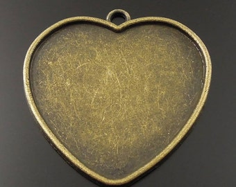 Heart Cameo Setting Charms Pendant jewelry findings  heart bezels antiqued bronze  charm  quantity 1  (D14)