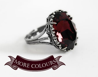 Red ring Gothic Ring engagement ring Burgundy Swarovski Ring Gothic Jewelry Dark Oxidized Silver Adjustable Vintage style gift girlfriend