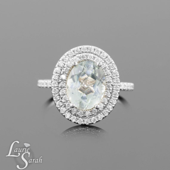 Oval Engagement Ring,  Prasiolite Ring with Diamond Double Halo- LS1076
