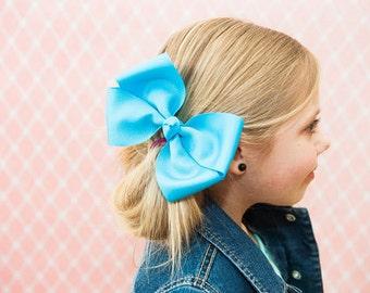 6 in. Mystic Blue Hair Bow - XL Hair Bow - Big Hair Bows - Girl Hair Bows