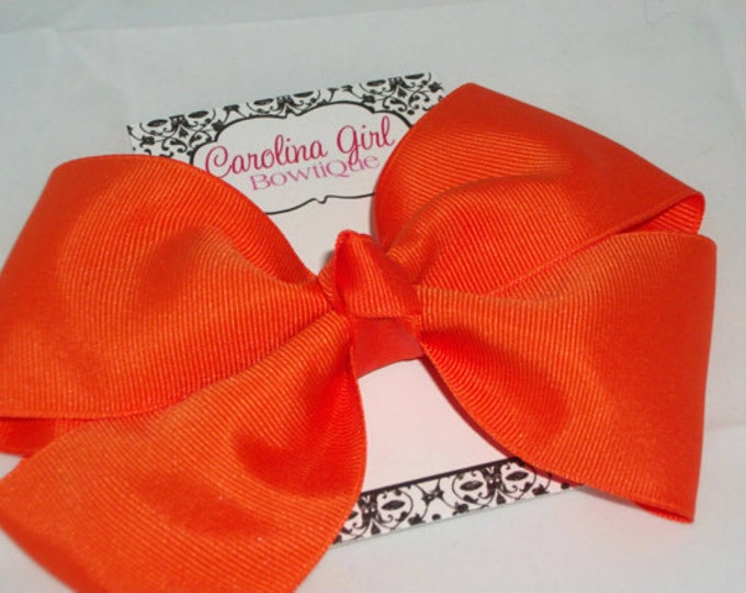 6 in. Orange Hair Bow - XL Hair Bow - Big Hair Bows - Girl Hair Bows