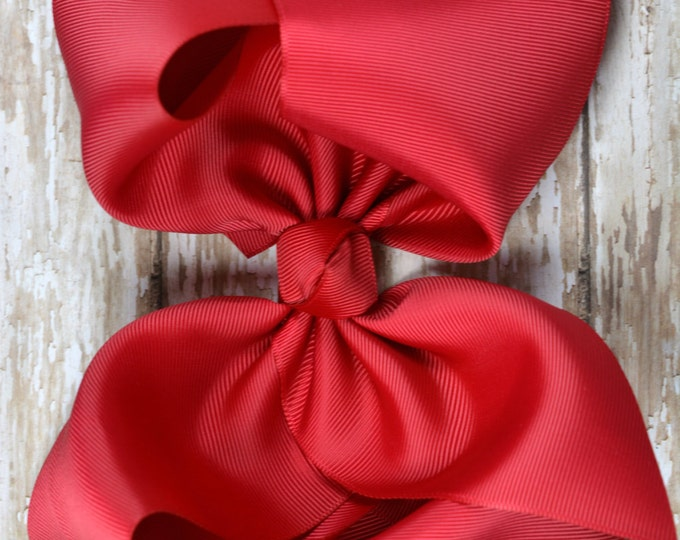 6 in. Red Boutique  Hair Bow - XL Hair Bow - Big Hair Bows - Girl Hair Bows