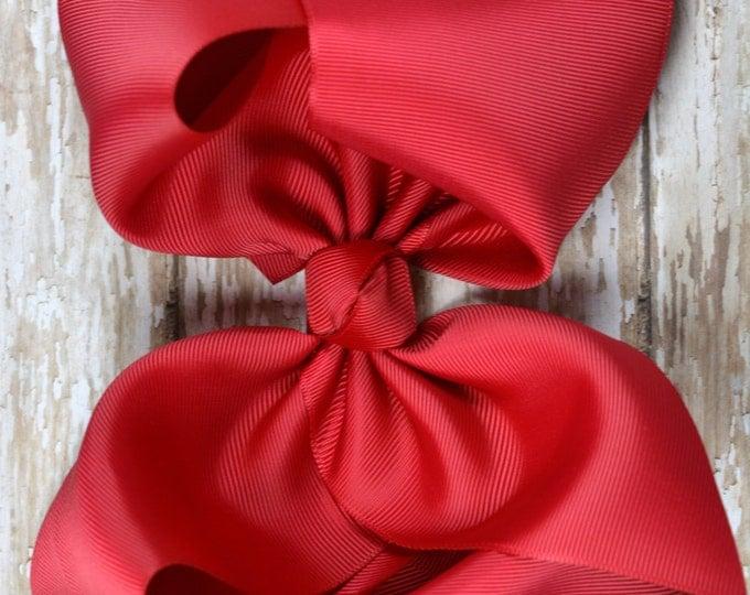 6 in. Red Boutique  Hair Bow - XL Hair Bow - Big Hair Bows - Girl Hair Bows