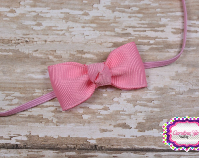 Newborn Headband - Small Headband Light Pink Tiny Bow on Skinny Elastic - Girls Hair Bows