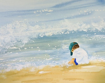 Little Boy on the Beach-Art, Fine Art Print of My Original Watercolor Painting