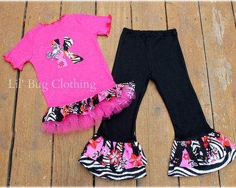 Custom Boutique Pink Zebra Floral Fall Pant And Tulle Tee Birthday Pageant Outfit