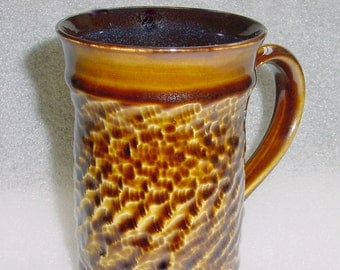 Amber and Black Wheel Thrown Pottery Mug Coffee Cup or Tea Cup with Chattering for Texture