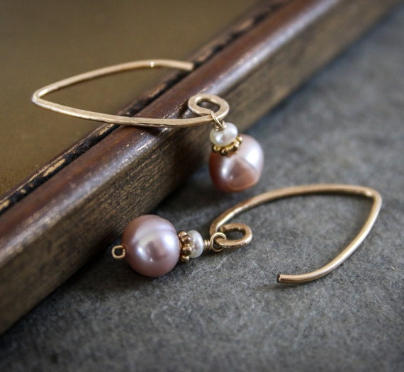 Freshwater Pearl Gold Dangle Earrings, Handmade, Hammered, 14KGold Fill, Pink, Peach, White