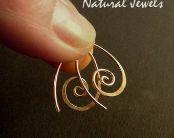 Tiny golden Spirals - 14K goldfilled earrings - very small