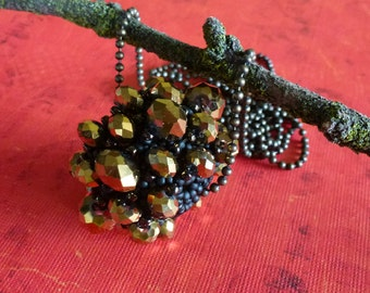 Black and Gold Beaded Bead Necklace