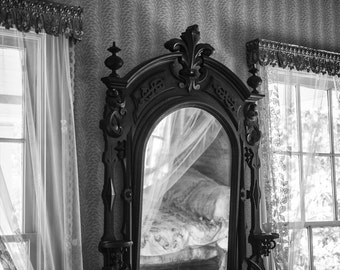 Antique Bedroom Mirror at Arlington House, Birmingham, Alabama -- black and white photograph