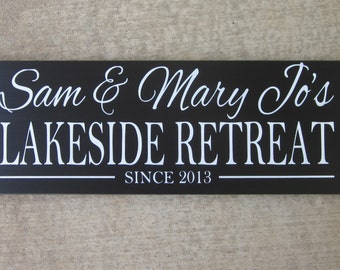 Lake House Sign, Lake House Decor, Custom Sign, Cabin Decor, cabin sign, shore house decor,  Beach House Decor, hand painted No Vinyl