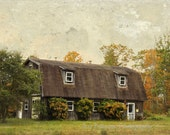 Abandoned Farm House Photo Lincoln Maine Fall Colors Rustic country Painterly Cottage Chic wall art Brown Orange Green Decor Landscape Print
