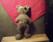 "Primitive Bear  "" WUV U""   E-pattern for instant download in 2 sizes 6"" and 12"" .  (HAFAIR)"
