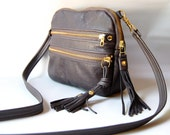 AW13 Leather bag in graphite grey - converts to clutch