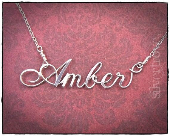 Sterling Silver Name Necklace, Wire Name Necklace, Silver Personalized Necklace, Custom Name Necklace, Calligraphy Script Name Necklace