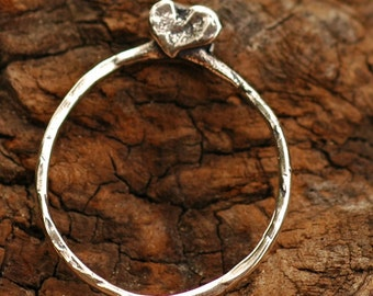 Heart Adorned Charm Holder in Sterling Silver, AD-45