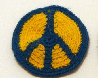 Peace patch in yellow and blue acrylic crochet