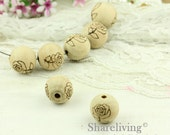 5pcs 25mm Rose Veins Wooden Round Beads WB007A