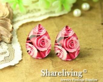 4pcs 18x25mm Handmade Photo Teardrop Glass Cabs Cabochons ( Flower )  -- BCH959H