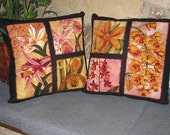 Hawaiian Orchids Design Accent Pillow Zippered Covers Set of 2 Japanese 20 inch