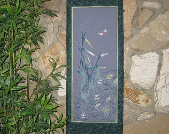 Quilted Wall Hanging Dragonfly Cricket and Summer Grasses Japanese Asian Design Scroll Size