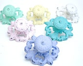 Shabby Cottage Chic Cast Iron Flower Drawer Pull