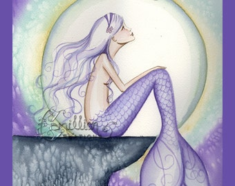 Celestial Night Mermaid and Moon Print  from Original Watercolor Painting by Camille Grimshaw