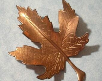 Large Vintage Copper Leaf Stamping 63mm x 44mm Copper Maple Leaf