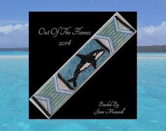 Bead PATTERN  Vanishing Herds- Orca Cuff Bracelet Peyote or Brick Stitch