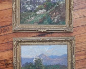 Vintage Pair of Landscape Paintings - 40's
