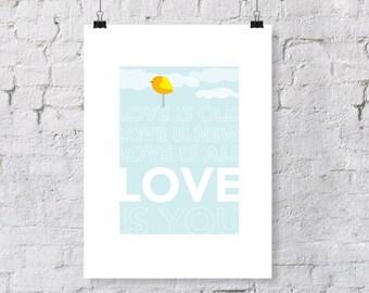 "The Beatles Inspired ""Love is You""  - nursery art print"
