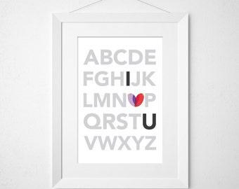 i heart u  - nursery art print